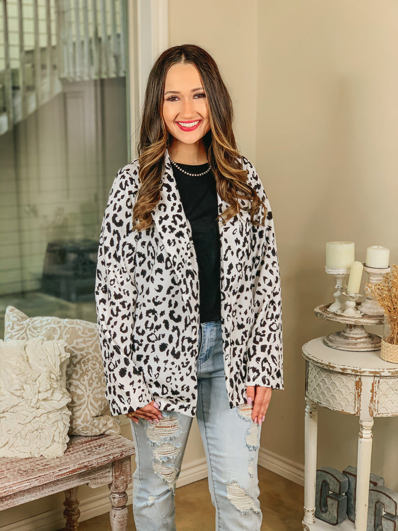 Out Of Office Leopard Print Open Front Blazer with Long Sleeves in White