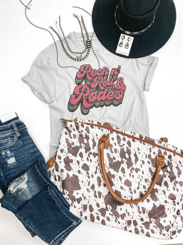 Rock N' Roll & Rodeo Retro Print Graphic Tee in Grey