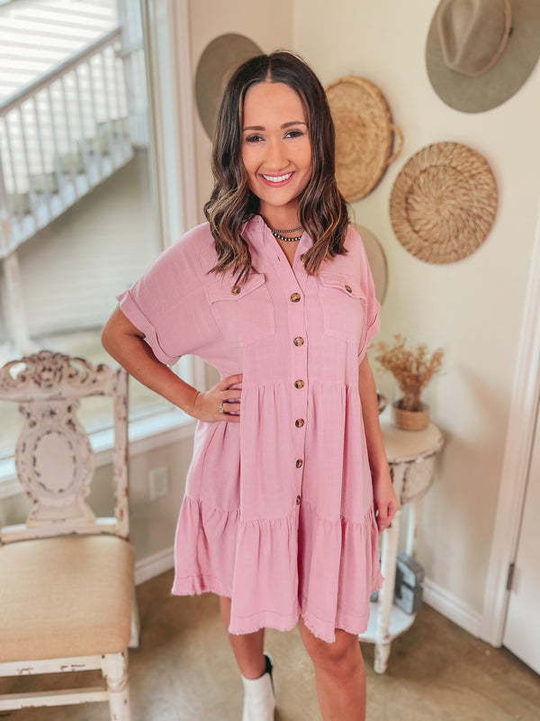 Oh Darling Ruffle Tiered Button Up Dress in Pink