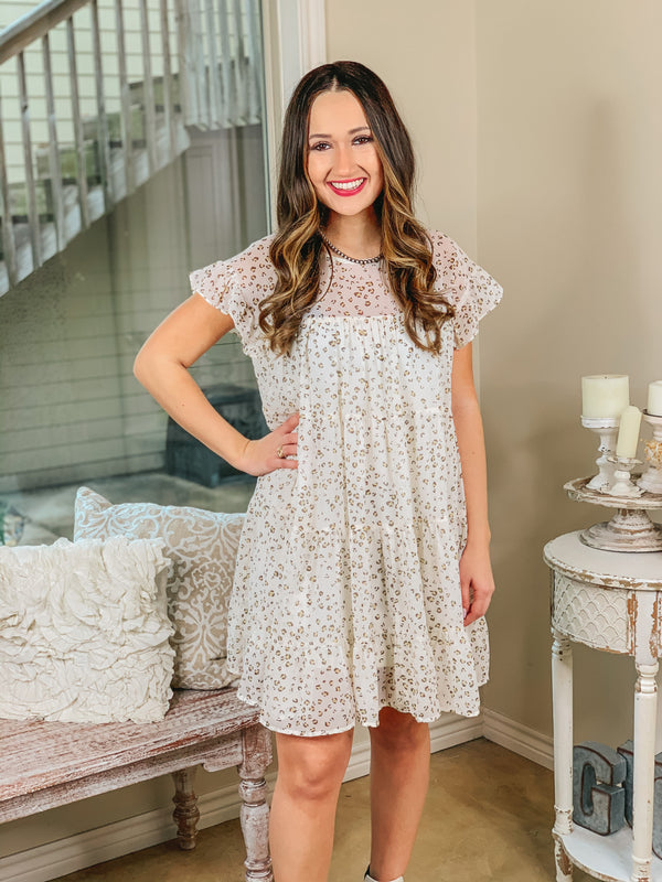 Give Me a Twirl Ruffle Tiered Leopard Dress in Ivory