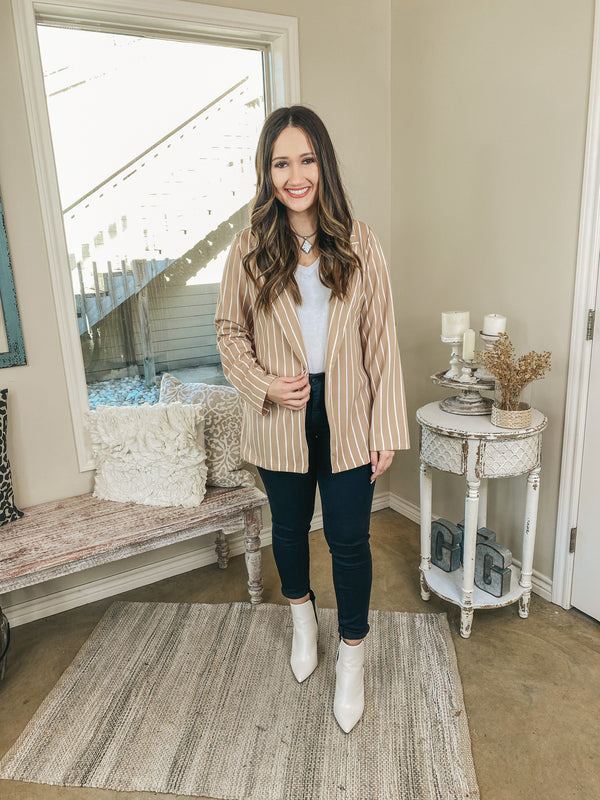 Out Of Office Pin Stripe Open Front Blazer with Long Sleeves in Beige