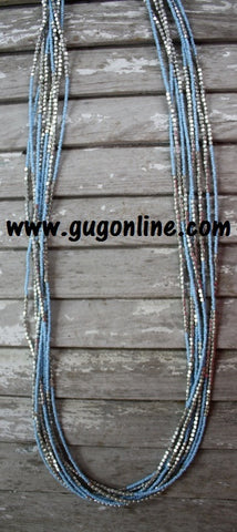 8 Long Strands of Silver and Blue Beaded Necklace