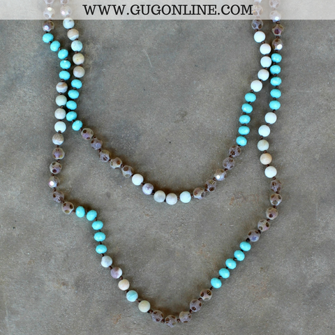 Long Layering Mint Crystal and Frosted Brown Necklace