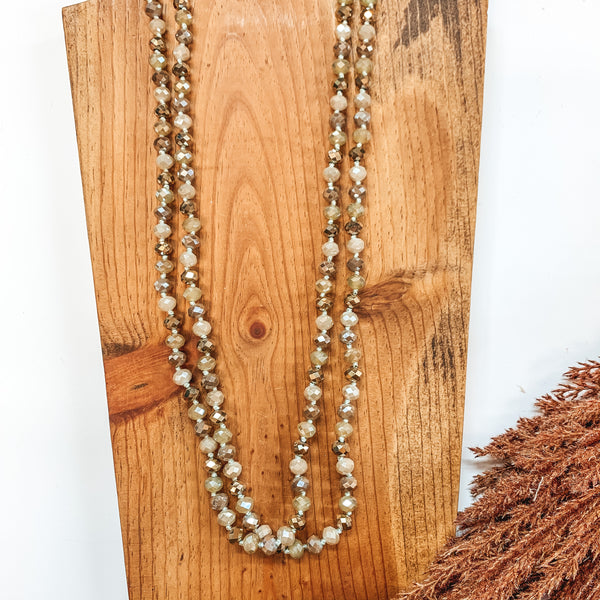 60 Inch Long 8mm Layering Crystal Strand Necklace in Sage, Champagne, Taupe and Bronze