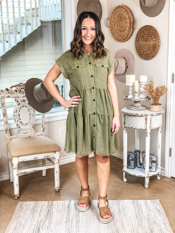 Oh Darling Ruffle Tiered Button Up Dress in Olive Green
