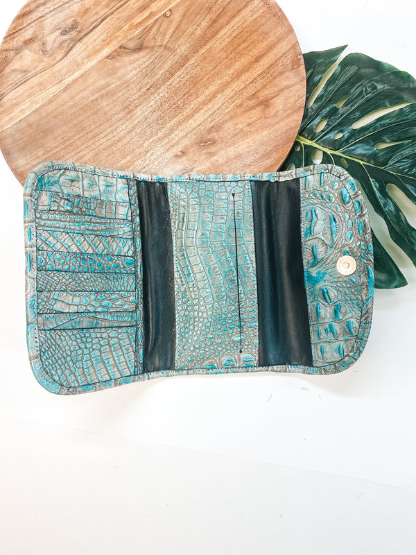 Raviani | Turquoise Croc and Brown Cowhide Wallet Clutch with Crystal Studs and Concho