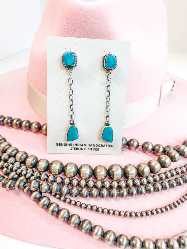 Tricia Smith | Navajo Handmade Sterling Silver Chain Drop Earrings with Kingman Turquoise Studs
