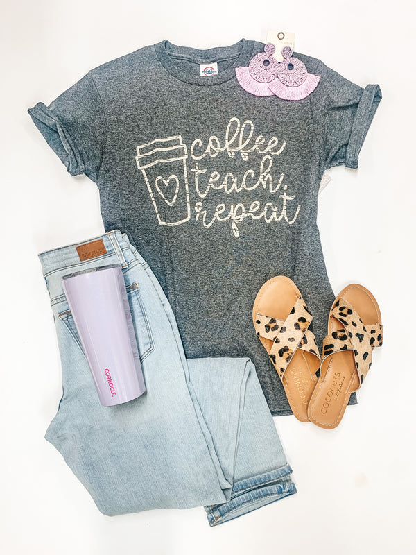 Coffee, Teach, Repeat Short Sleeve Graphic Tee in Heather Grey