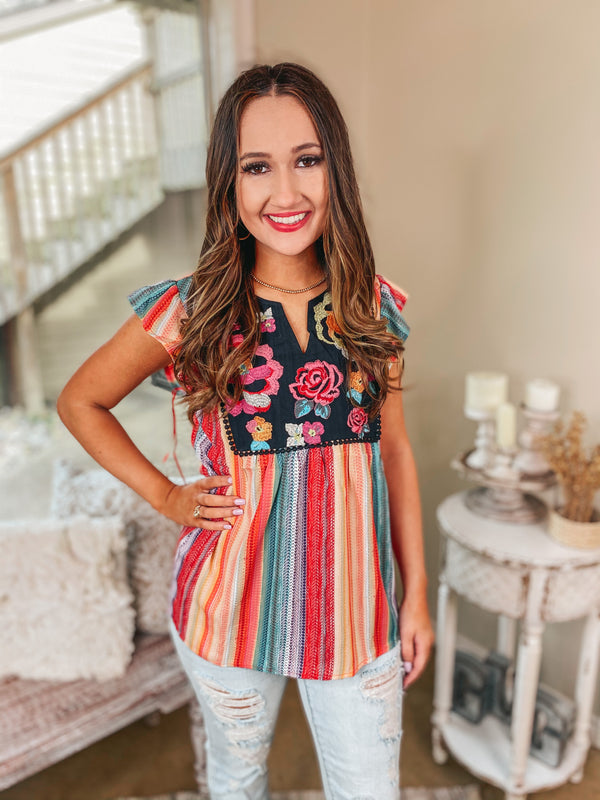 Always a Lady Ruffle Cap Sleeve Top with Embroidered Yoke in Multi Serape