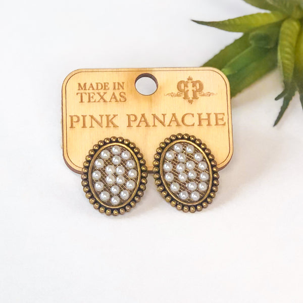Pink Panache Mini Bronze Oval Stud Earrings with Pearls