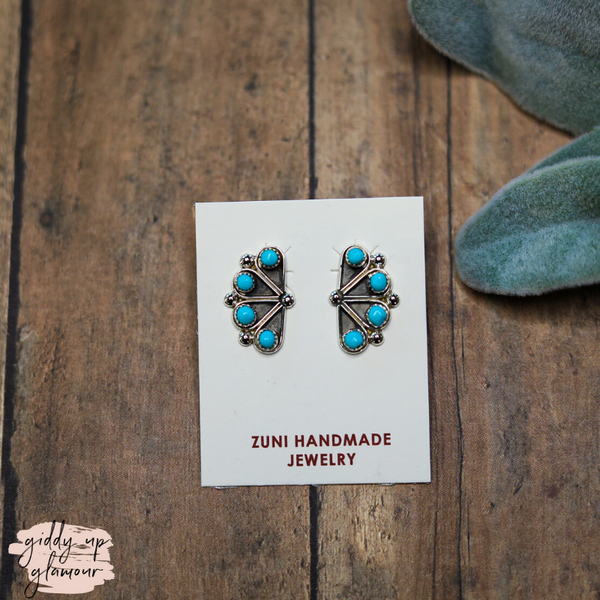 Zuni | Sterling Silver in Turquoise Fan Design Stud Earrings