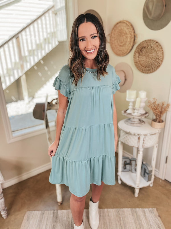 Instant Attraction Solid Ruffle Tiered Dress in Sage Green