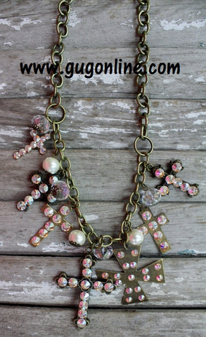 AB Crystals on Gold Cross Dangle Necklace