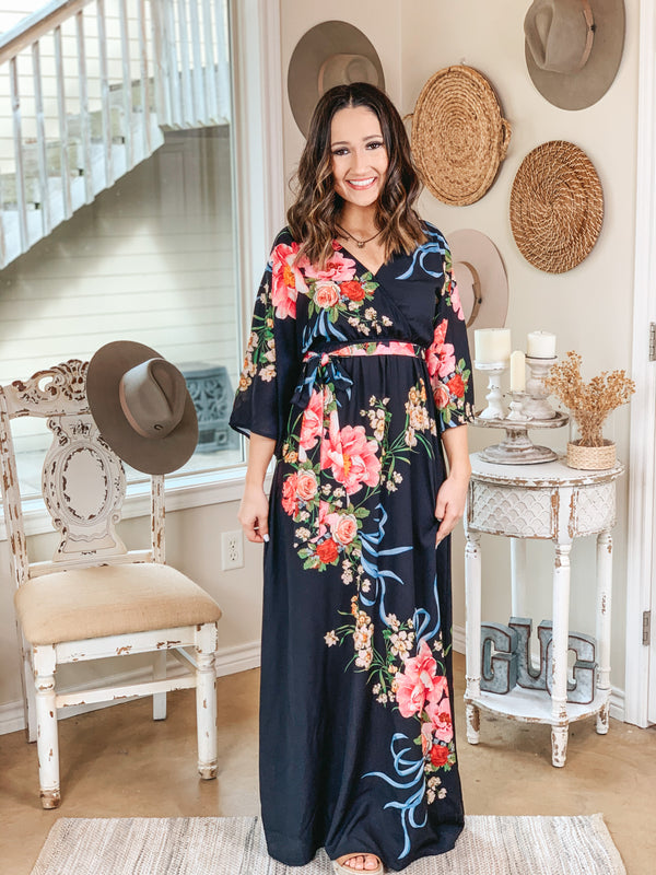 Dream In Color Floral Print Maxi Dress in Black