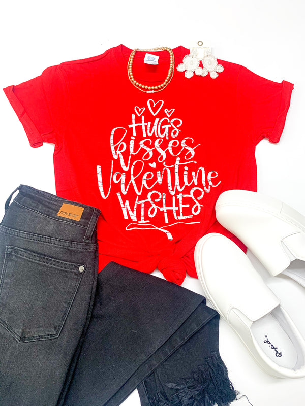 Youth | Hugs, Kisses, and Valentine Wishes Graphic Tee in Red