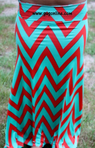 A Little Taste Of Chevron Coral and Mint Maxi Skirt
