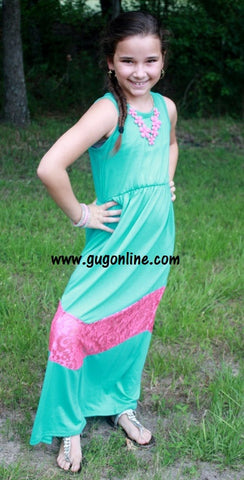 Children's A Little Taste of Lace Maxi Dress in Mint