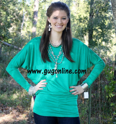 A Spot To Snuggle Green Slouchy Top