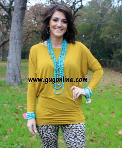 A Spot To Snuggle Mustard Slouchy Top