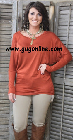 A Spot To Snuggle Rust Slouchy Top