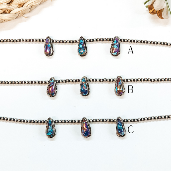 Elouise Kee | Authentic Native American 4mm 14 inch Navajo Pearl Necklace with 3 Teardrop Remix Mojave Turquoise Stones