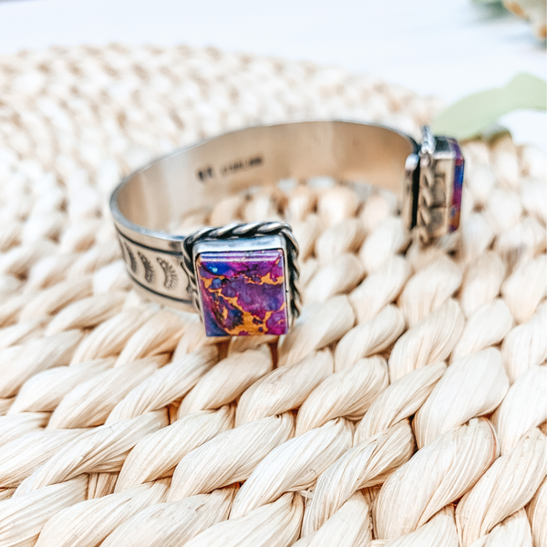 Rick Enricuez | Navajo Handmade Sterling Silver and Remix Purple Mojave Turquoise Bracelet Cuff