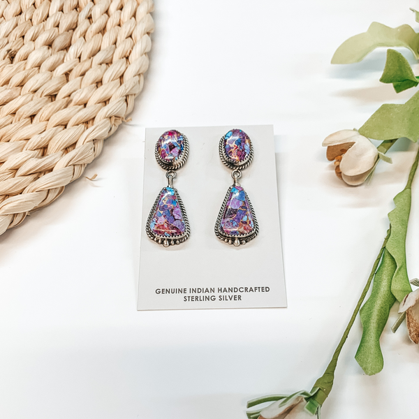 Elouise Kee | Handmade Navajo Sterling Silver Remix Mojave Turquoise Drop Earrings