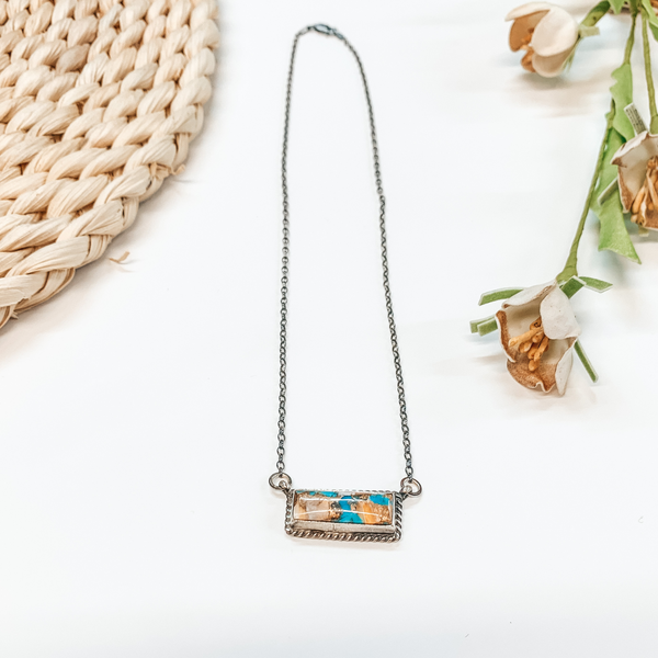 Navajo | Sterling Silver Chain Necklace with Remix Spiny Turquoise Stone and Rope Detailing Bar