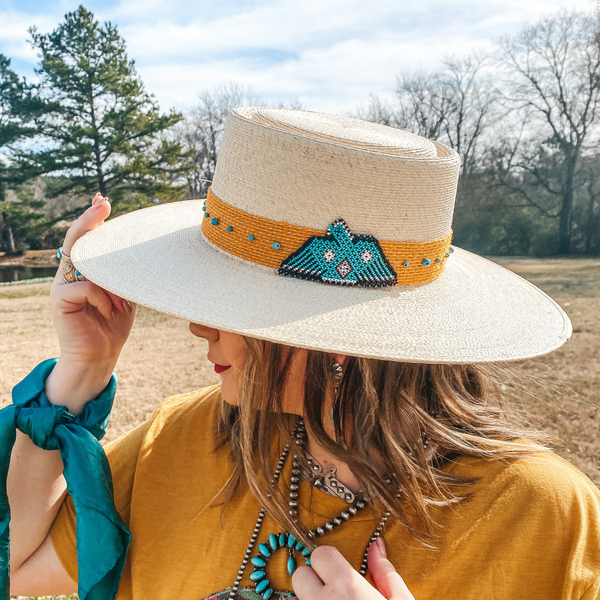Charlie 1 Horse | War Eagle Straw Hat with Yellow Band, Beaded Thunderbird and Turquoise Accents