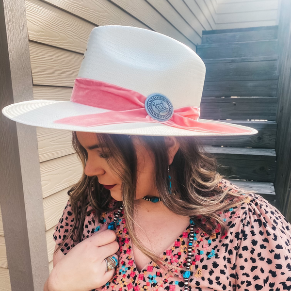 Charlie 1 Horse | Only Prettier Straw Hat with Pink Velvet Ribbon Band and Barbosa Oval Concho Pin