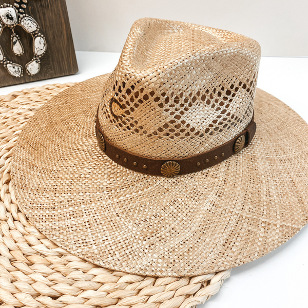 Charlie 1 Horse | Hair Trigger Straw Stiff Brim Hat with Brown Band and Conchos