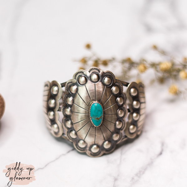 Tim Yazzie | Genuine Sterling Silver Concho Cuff Bracelet with Kingman Turquoise Stone