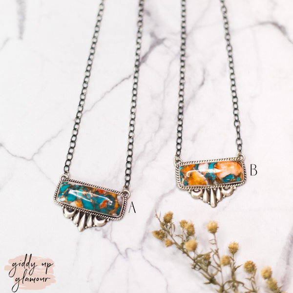 Begay | Sterling Silver Chain Bar Necklace with Turquoise, White Buffalo and Orange Spiny Oyster Matric