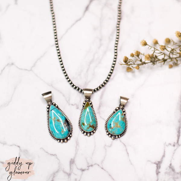 Augustine Large | Navajo Handmade Genuine Small Sterling Silver and Kingman Turquoise Teardrop Pendant
