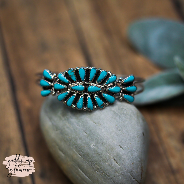 Matilda Benally | Navajo Handmade Genuine Sterling Silver and Turquoise Stone Oval Cluster Cuff Bracelet