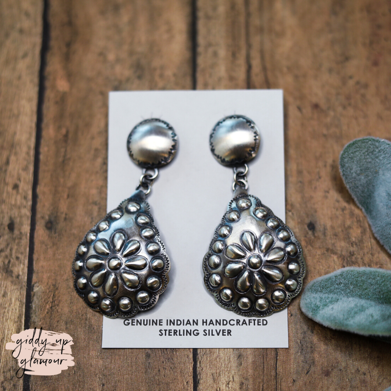 Tim Yazzie | Navajo Handmade Genuine Sterling Silver Post Back Dangle Earrings with Flower Teardrop