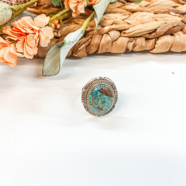 Dave Skeets | Navajo Handmade Sterling Silver Silverwork Ring with Oval Turquoise Stone