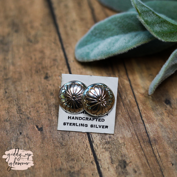 Navajo | Genuine Sterling Silver Medium Concho Stud Earrings