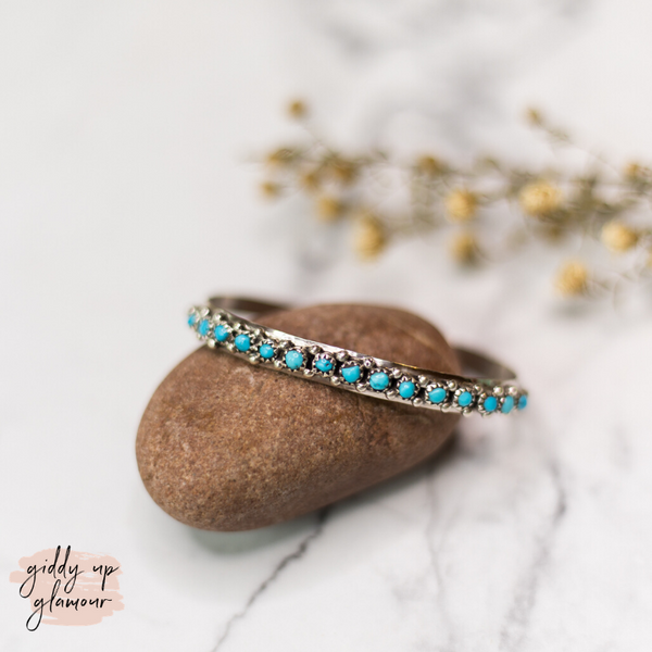 Charlie John | Navajo Handmade Genuine Sterling Silver and Turquoise Stone Cuff Bracelet