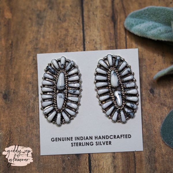 Pam Benally | Genuine Sterling Silver and White Buffalo Cluster Stone Stud Earrings