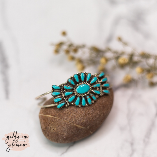 Pamela Benally | Navajo Handmade Genuine Sterling Silver and Turquoise Stone Oval Cluster Cuff Bracelet