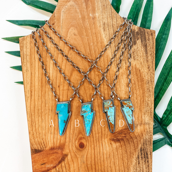 Alfred Martinez | Navajo Handmade Sterling Silver Necklace with Kingman Turquoise Lightning Bolt Pendant