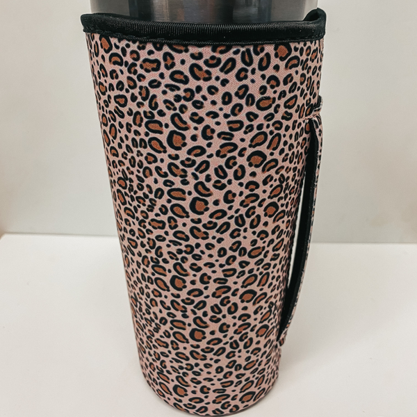 Tumbler Drink Sleeve in Blush Leopard