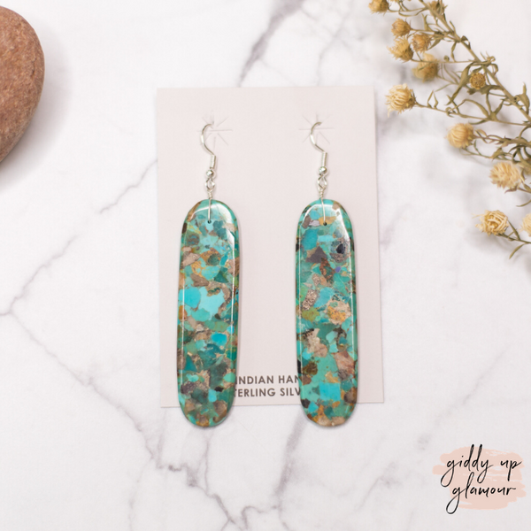Navajo | Turquoise Slab Earrings | Shades of Blue, Green and Brown