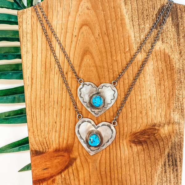 Rick Enriquez | Navajo Handmade Sterling Silver Necklace with Heart Pendant and Turquoise Stone