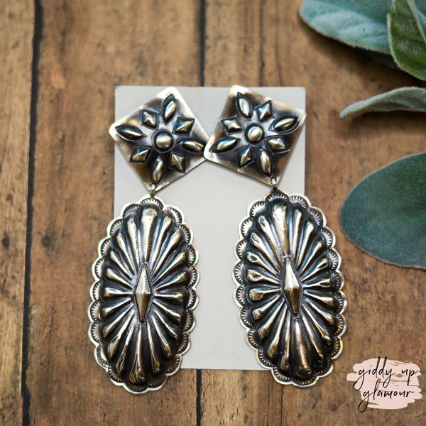 Rita Lee | Genuine Sterling Silver Concho Dangle Earrings