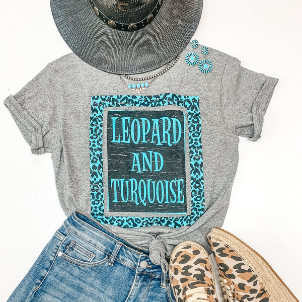 Leopard and Turquoise Short Sleeve Graphic Tee in Heather Grey