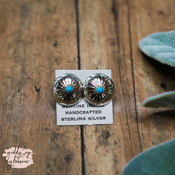 Navajo | Small Genuine Navajo Sterling Silver Concho Earrings with Turquoise Cabochon Studs