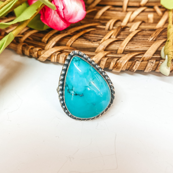 Eli Skeets | Navajo Handmade Sterling Silver Teardrop Ring with Kingman Turquoise Stone - Size 8
