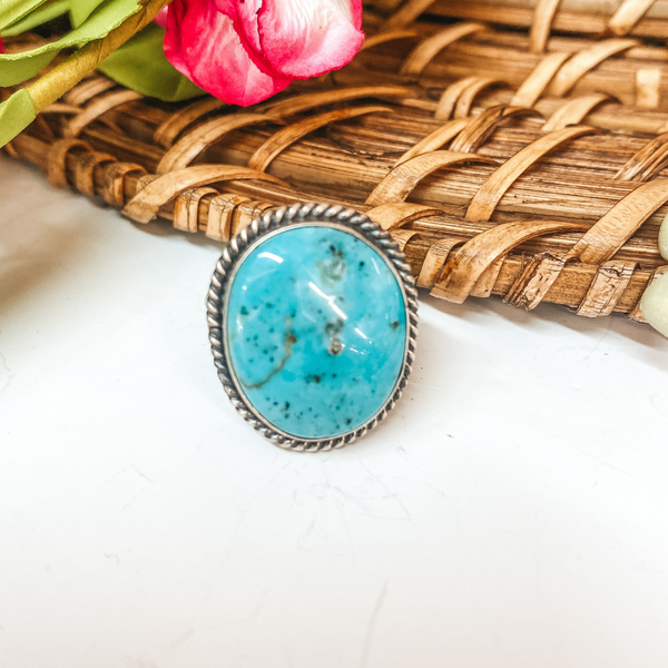 Eli Skeets | Navajo Handmade Sterling Silver Oval Ring with Kingman Turquoise Stone - Size 6